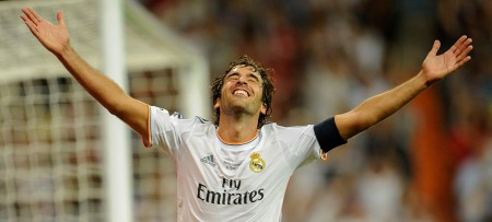 ALTERNATIVE CROP Real Madrid's forward Raul celebrates after scoring during the Santiago Bernabeu trophy football match Real Madrid CF vs Al-Sadd SC at the Santiago Bernabeu stadium in Madrid on August 22, 2013.    AFP PHOTO/ PEDRO ARMESTRE        (Photo credit should read PEDRO ARMESTRE/AFP/Getty Images)