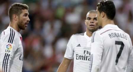 (L-R) Sergio Ramos of Real Madrid, Pepe Kepler Laveran Lima Ferreira of Real Madrid, Cristiano Ronaldo of Real Madrid during the Spanisch Super Cup match between Real Madrid and Atletico Madrid at Estadio Santiago Bernabeu on august 19, 2014 in Madrid, Spain(Photo by VI Images via Getty Images)